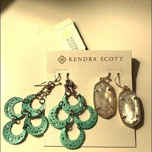 NWT Kendra Scott Earrings (2) White drop down/Teal